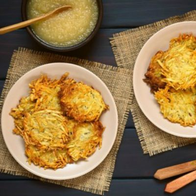 Potato Latkes with Spiced Applesauce