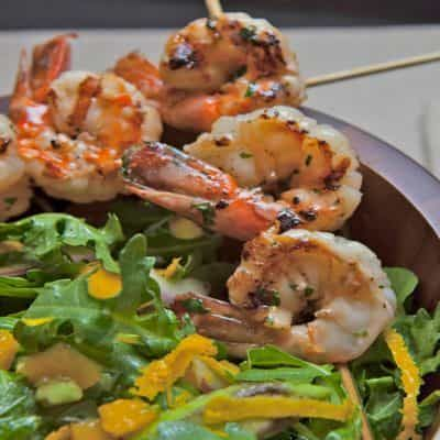Avocado & Mango Salad on Arugula with Grilled Shrimp