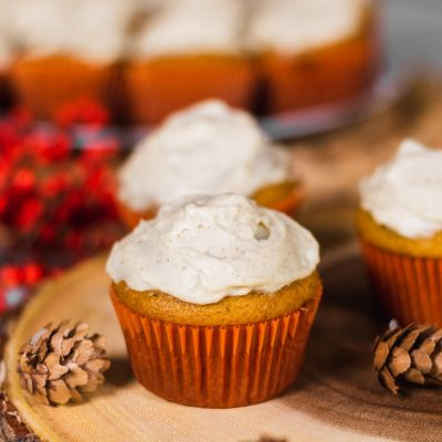 Pumpkin Cupcakes with Sugar & Spice Cream Cheese Frosting