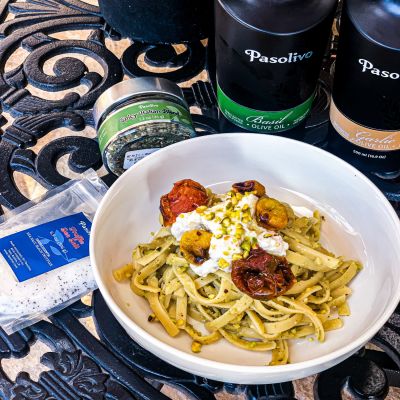 Pistachio Pasta with Roasted Tomatoes and Ricotta
