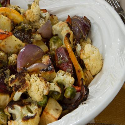 Roasted Vegetables with Maple, Fig & Caper Vinaigrette