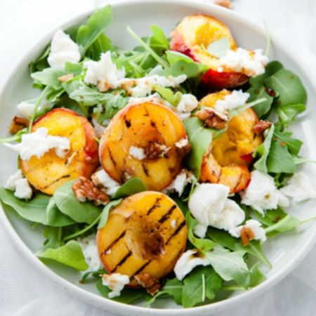 Grilled Peach and Burrata Salad with Toasted Pine Nuts and Vinaigrette