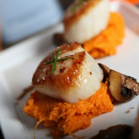 Seared Scallops with Balsamic Mushrooms and Sweet Potato Puree