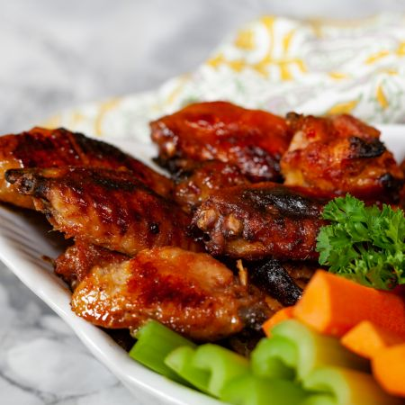 Ghost Pepper Chicken Wings with Blue Cheese Dip and Crudites