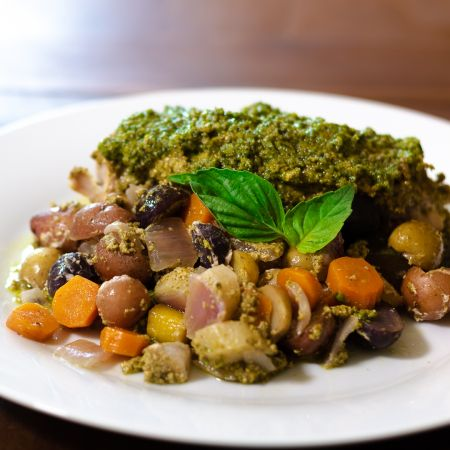 Pesto and Vegetable Foil Wrapped Chicken